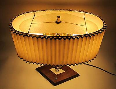 Striking Mid Century Tri Light Table Lamp With Accordian Shade