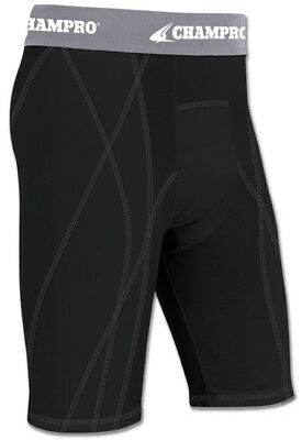 Champro BPS9 Contour Fit Adult Baseball Softball Sliding Short Dri | Black L/XL