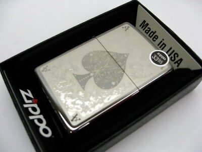 Zippo Full Size Black Ice Filigree Ace Of Spades Classic Windproof Lighter 28323
