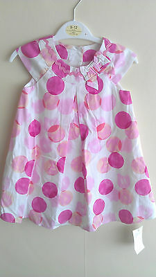 George Girls Pink Spotted Party Dress 6-9 mnths