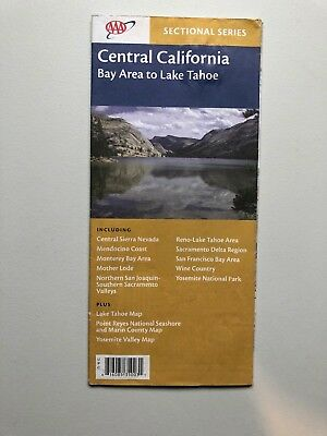 Vintage AAA CENTRAL CALIFORNIA - BAY AREA SAN FRANCISCO TAHOE Paper Map