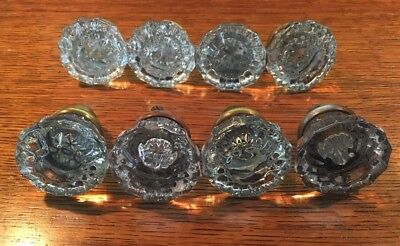 Antique Vintage set 8 Glass 12 Pt Crystal Door Knobs Handles Brass Fittings DK05