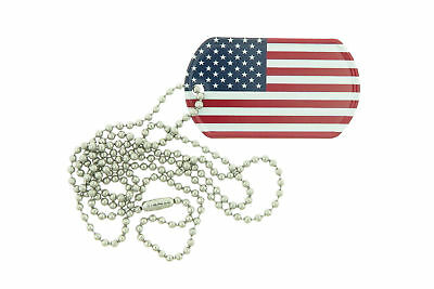 USA Flag Color Printed Rolled Edge Stainless Steel Military Dog Tag