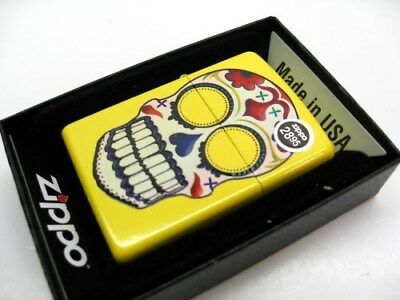 ZIPPO Full Size Lemon DAY OF THE DEAD Skull Classic Windproof Lighter! 24894