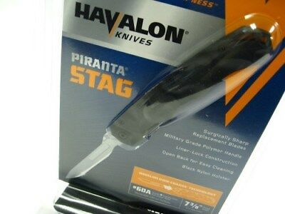 HAVALON Black PIRANTA Stag Folding Knife + Sheath + Six 60A Blades! 60ASTAG-BLK