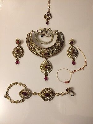 Indian Pakistani Gold Red Diamanté Stone Bridal Jewellery Set VGC