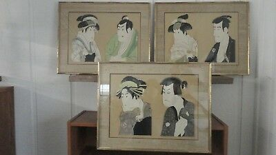Japanese Woodblock Prints Sharaku Kabuki Theatre Ukiyo-e Lot of 3 Framed Prints