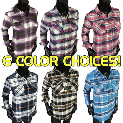 Womens FLANNEL Plaid Casual Button Front Shirt 6 Colors To Choose From!