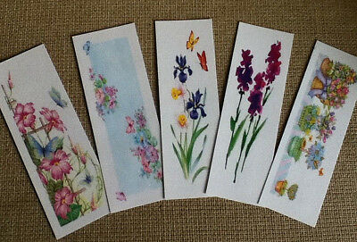 Set of 5 Laminated Bookmarks with Spring Floral Designs