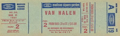 Van Halen 1984 Tour Unused Msg Concert Ticket / A19 / David Lee Roth / Eddie