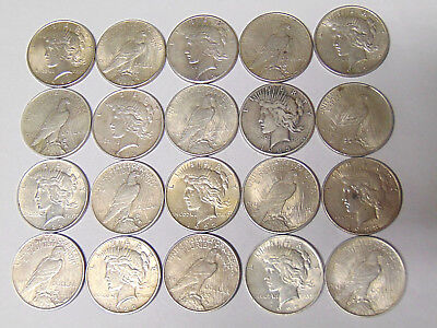 Roll of 20 Peace Silver Dollars 1922 1923 Silver Dollars VF and XF Coins