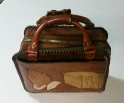 Vintage Hand Tooled Leather Zippered Bible Case W/ Handle Praying Hands Jesus