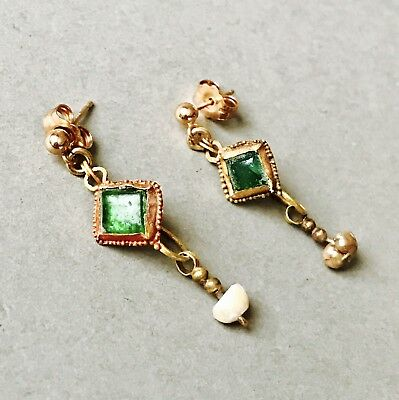Marched Ancient Roman Gold Earrings With Green Glass & Pearl, Elegant Jewellery
