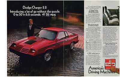 1982 Dodge Charger 2.2  ~  Classic Two-Page Print Ad