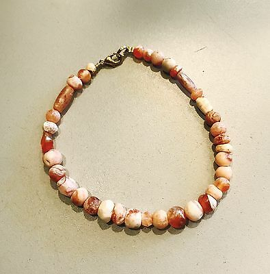 Ancient Egyptian-Roman Agate Beads Bracelet Jewellery Gold Plated Clasp Restrung