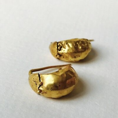 Beautiful Pair Of Marched Ancient Roman Gold Earrings Unusual, Elegant Jewellery