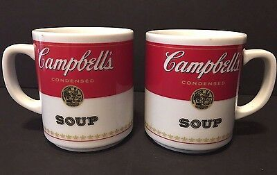"Vintage Pair ""Campbell's Soup"" Corning Glass Works Porcelain Coffee Mugs-Japan"