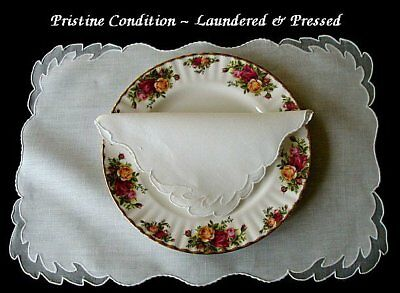 RARE Unused Vtg 24pc MADEIRA Linen Organdy Placemats Hand Embroidered IMPERIAL