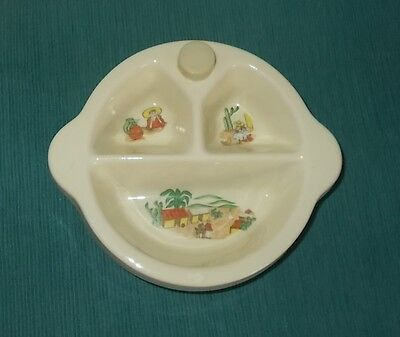 Vintage 40s Excello Baby Warming Bowl-Food Dish-MEXICAN/SW Design-Orig Stopper