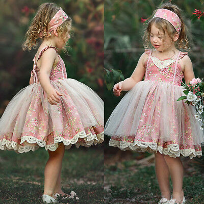 Princess Kids Baby Flower Girls Dress Lace Floral Tulle Party Dresses Casual