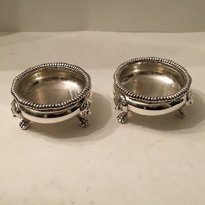 Antique English Sterling Silver Lion Head Pair Salt Cellars 242 Grams made 1915