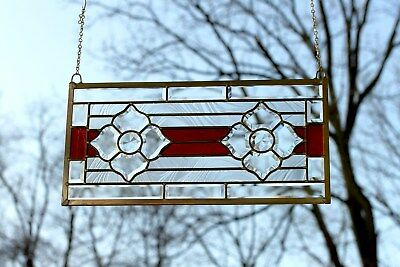 """Handcrafted stained glass Clear Beveled window panel , 11"""" x 22"""""""
