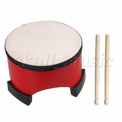 7.8 inch Red Kids Musical Percussion Toy Wood Floor Tom Drum with Sticks