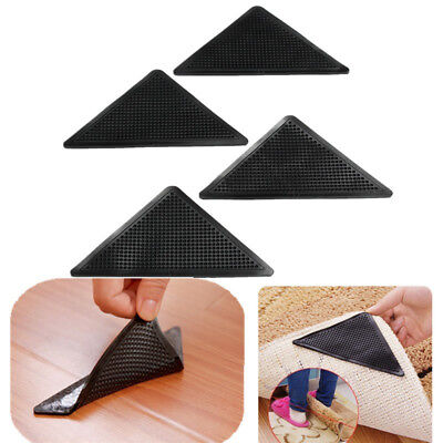 4pcs Reusable Washable Rug Carpet Mat Grippers Non Slip Silicone Home Grip New