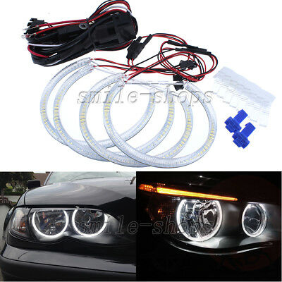 For BMW E46 3 Series Non-HID Halogen Headlight White LED Angel Eye Halo Ring Kit