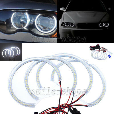 4pcs Bright White SMD LED Angel Eye Halo Ring For BMW E46 3 Series Non Projector