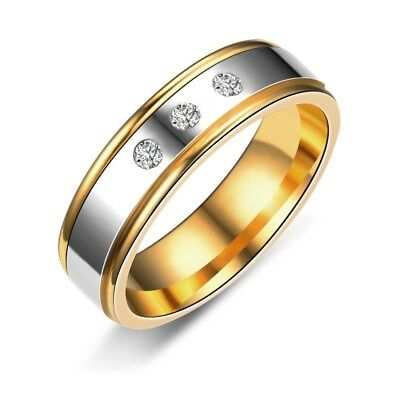6MM/8MM Gold Plating CZ Band Women's 316L Stainless Steel Wedding Ring Size 6-10