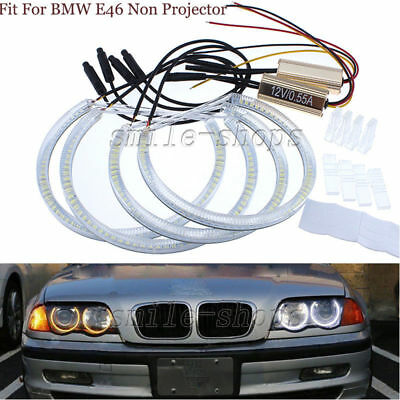 4pcs Dual Color SMD LED Halo Ring Fit For BMW E46 Non-projector Angel Eyes DRL