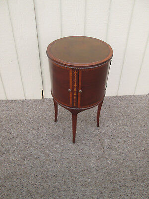 58501  Inlaid Mahogany Leather Top Nightstand Table