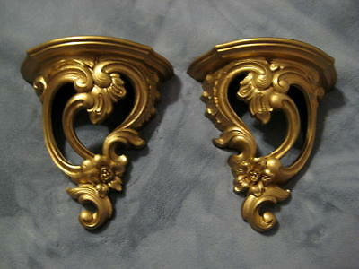 Vintage Pair Of Gold Syroco Wood Wall Sconces Plaques Hollywood Regency French