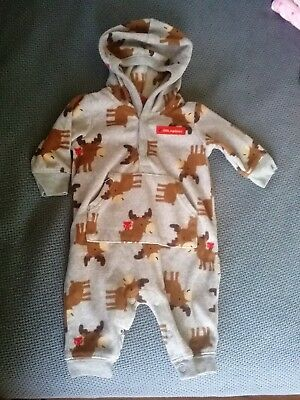 3 M Months Baby Girl Boy Unisex Clothes Clothing Carters Footed PJs Pajamas Hood