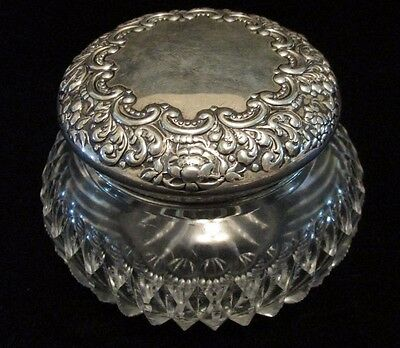 Sterling Silver Floral Repousse Lid POWDER JAR Zipper Cut Glass Jar Wilcox USA