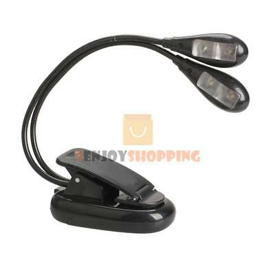 Super Dual Arm 4 LED Flexible Book Light Clip-on Music Stand Computer Lamp