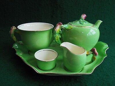 Royal Winton Green Rosebud Breakfast Set