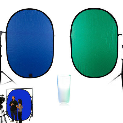 5x7ft Portable Collapsible Popup Blue Green Background Panel Backdorp Screen
