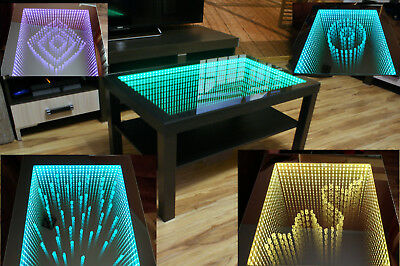 weiss tisch white table spiegel glastisch led 3d tiefeffekt infinity mirror diy eur 155 00. Black Bedroom Furniture Sets. Home Design Ideas