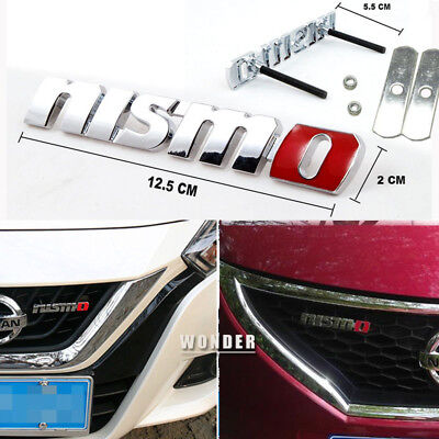 Auto 3D Metal Silver Finished Nismo Front Grille Grill Badge Emblem For Nissan