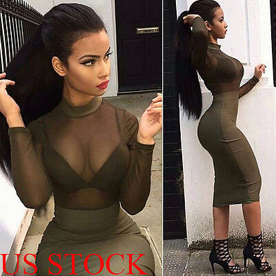 Bandage Bodycon Evening Party Cocktail  Midi Dress Summer Women Long Sleeve