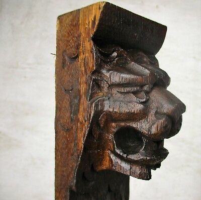 Pair Corbels Hand Carved Wood Panels Architectural reclaimed LIon Heads