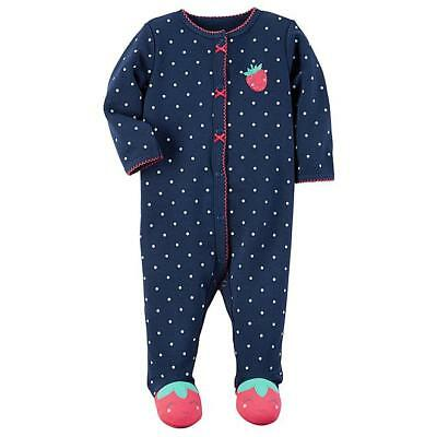 NWT Carter's Baby Girl Strawberry Footed Coverall/Sleeper Newborn, 3 mo, 6 mo