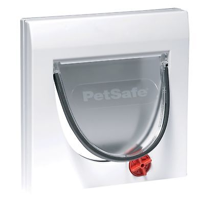 4 Way Locking Lockable Cat Flap Door W/ Tunnel Small Dog Pet In Out White Safe