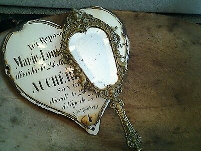 Fabulous French Antique Hand Mirror Cherubs Beveled Edge Glass Stunning