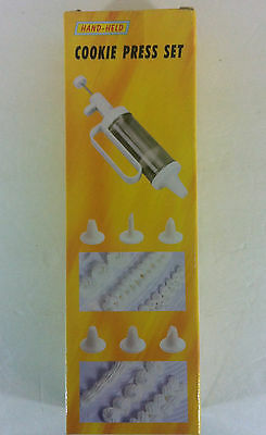 Hand Held Cookie Press Set  24 Decorating Discs 6 Nozzle Inserts New In Box