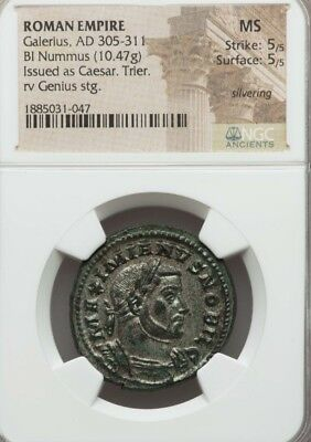 Roman Empire Galerius Bl Nummus NGC MS 5/5 Ancient Silver Coin