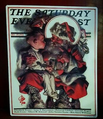 Saturday Evening Post cover from Dec 22 1923 on Metal Sign Santa Claus w boy