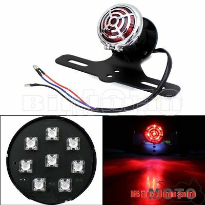 Motorcycle LED Rear Taillight License Plate Lamp + Bracket For Harley Cafe Racer
